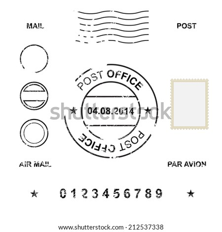 Set of post stamp symbols, vector illustration  - stock vector