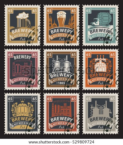 set of postage stamps on the theme of beer and brewery in retro style