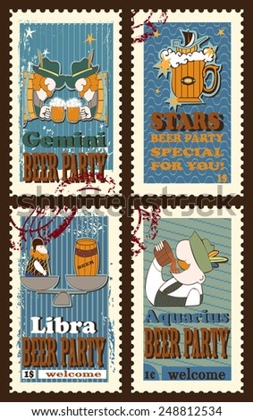 Set of postage stamps with  symbolical images of  zodiac sings. Set contains signs of  zodiac, beer mug,ship,beer tun and stars. Postage stamps. Cartoon  style.