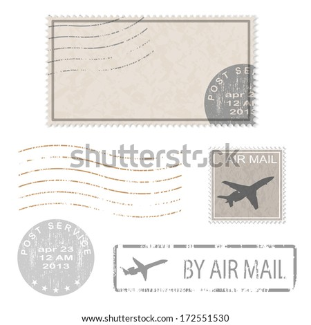 Set of postal business icons, stamps. Vector illustration. - stock vector