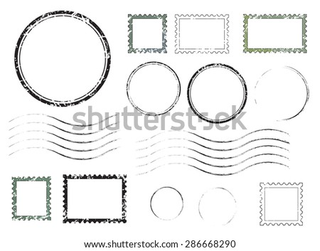 Set of postal stamps and postmarks, isolated on white background, vector illustration. - stock vector