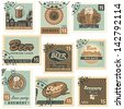 set of postal stamps on theme of beer and brewery - stock vector