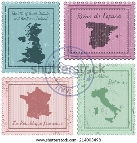 set of postal stamps with grunge effect - stock vector