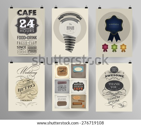Set of poster, flyer, brochure design templates . ?alligraphic design elements and page decoration - stock vector