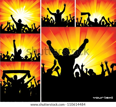 Set of posters for sports championships and concerts - stock vector