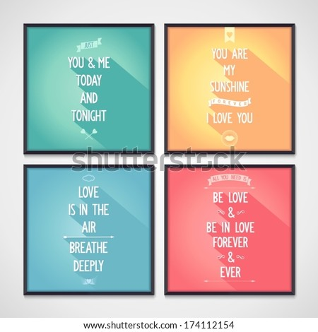 Set of posters with phrases about love. Flat design. Vector eps10 - stock vector