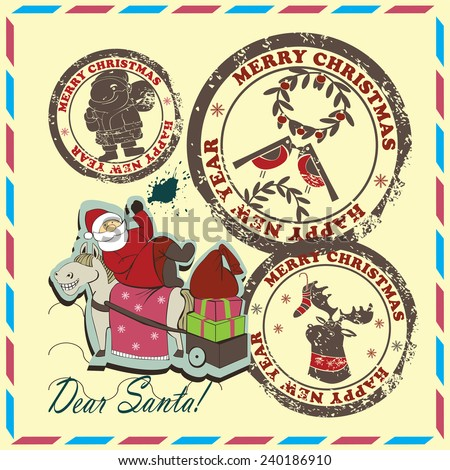 Set of postmarks.Set contains postmarks with   images of  Santa, reindeer, Santa with gifts and bullfinches on vintage background. - stock vector