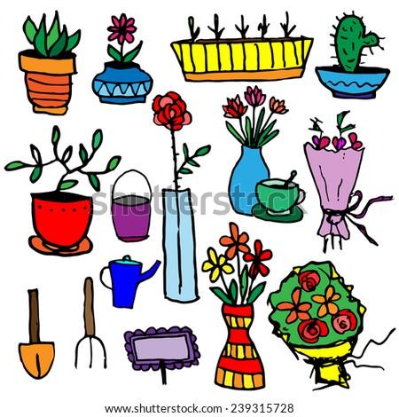 Set of potted flowers, garden furniture - stock vector