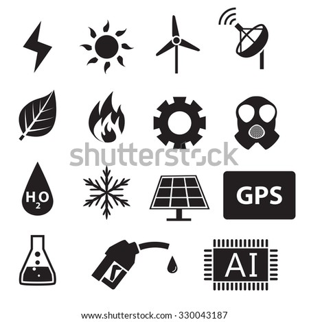 Set of power and energy system in silhouette icons