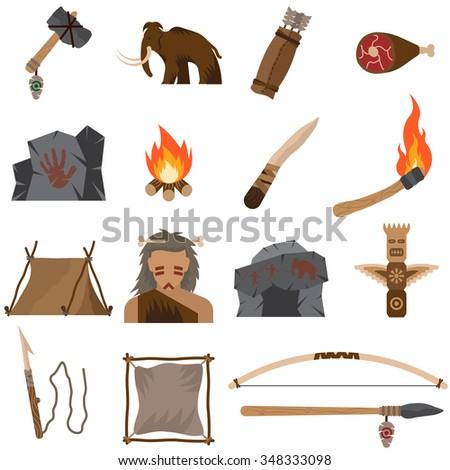 Set of prehistoric icons. - stock vector