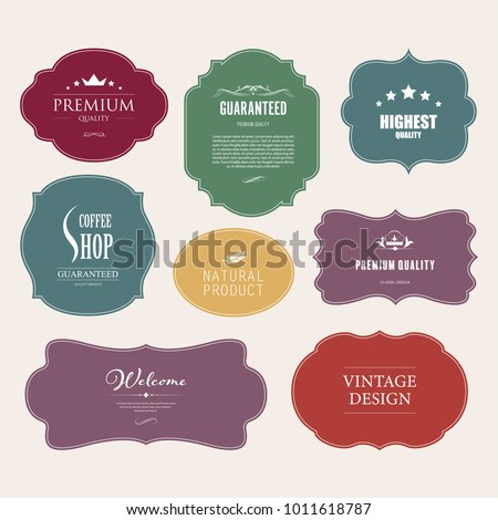 Set of premium label for design vintage design. Banner vector.