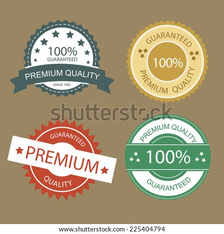 Set of  Premium Quality and Guarantee labels and badges  - stock vector