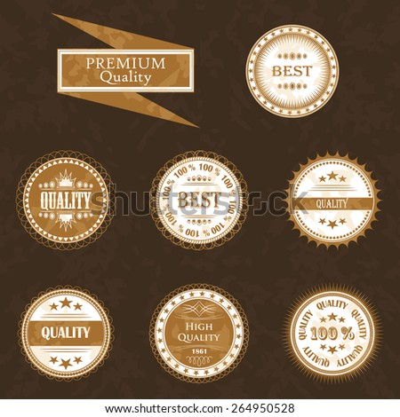 Set of premium quality and retro labels. Vintage Design and Grunge background        - stock vector
