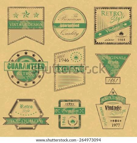 Set of premium quality and retro labels. Vintage Design. Grunge background. Original style       - stock vector