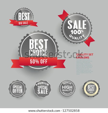Set of premium quality badges and labels. - stock vector