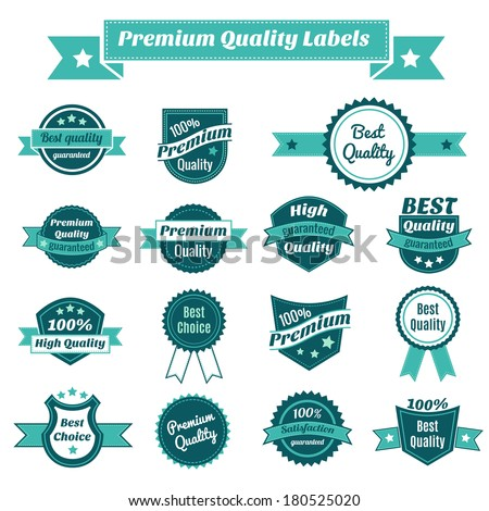 Set of premium quality best choise and guaranteed satisfaction product price tags isolated vector illustration