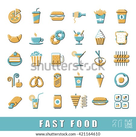 Set of premium quality fast food icons. Collection of flat line icons of food and drink. Vector illustration.
