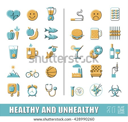Set of premium quality flat line icons. Items for healthy and unhealthy lifestyle. Collection of various food and lifestyle icons. Vector illustration.