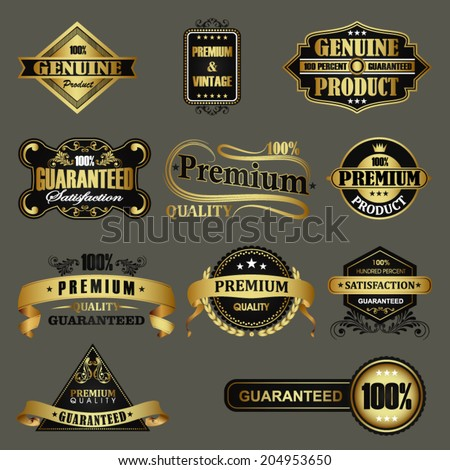 Set of premium quality golden badges stock vector - stock vector