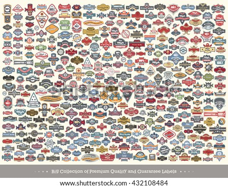 Set of Premium Quality icons - Big Collection of retro vintage labels. Vector