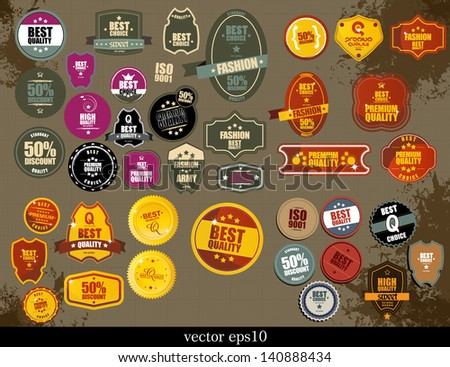 Set of Premium Quality Labels - stock vector