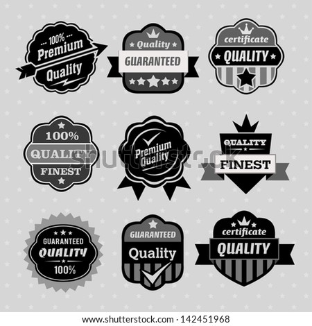 Set of premium & quality labels, emblems and stamps on the grey background with stars - stock vector