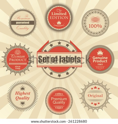 Set of premium quality labels. Retro Design. Round labels       - stock vector