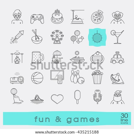 Set of premium quality line fun and games icons. Collection of vector icons for games, fun, leisure, sport, hobby, free time. Info graphics elements collection. Web graphics. - stock vector