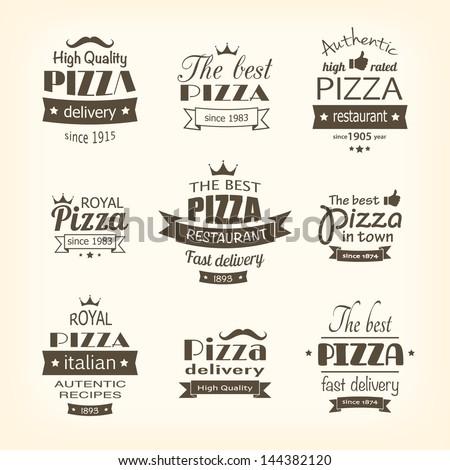set of premium quality pizza labels eps8 - stock vector