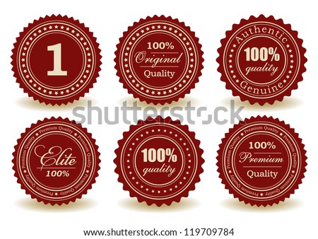 set of premium quality, 100% quality, number 1 and elite graphic medals with shadow design, vector - stock vector