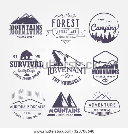 Set of premium vector labels on the themes of wildlife, nature, hunting, travel, wild nature, climbing, life in the mountains, survival. Retro, vintage, casual design. #4 - stock vector