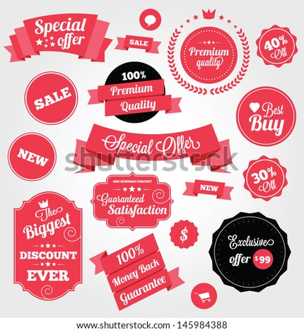 Set of Premium Vector Stickers and Ribbons - stock vector