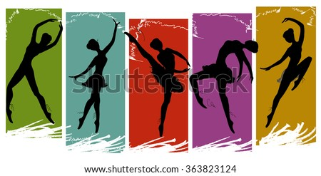set of pretty ballet dancers in various poses, vector illustration - stock vector