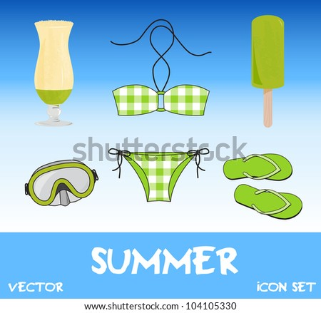 Set of pretty colorful summer icons, vector