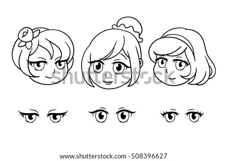 Set Of Pretty Heads In Anime Style Portrait Three Girls Beautiful Faces