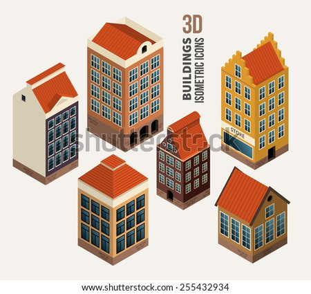 Set of pretty houses, architecture isometric 3d vector buildings. Icon and symbol, block of flats. Vector illustration - stock vector