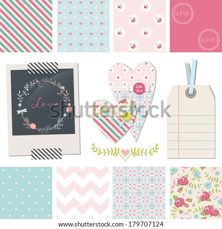 Set of Pretty Shabby Chic Vector Seamless Patterns and design elements: photo frame, fabric hearts, gift tag. Use to create digital paper for scrap booking. - stock vector