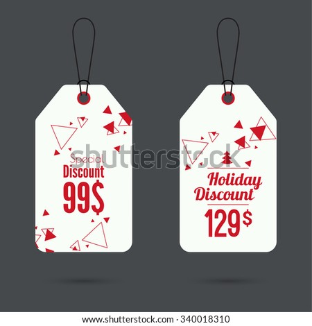 Set of price tags with scattered triangles. special price, holiday discount and. Christmas tree, Christmas discounts. red - stock vector