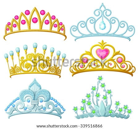 Set Princess Crowns Tiara Isolated On Stock Vector