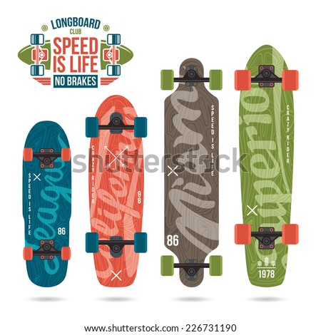 Set of prints on longboard in retro style. Lettering print, variety form - stock vector