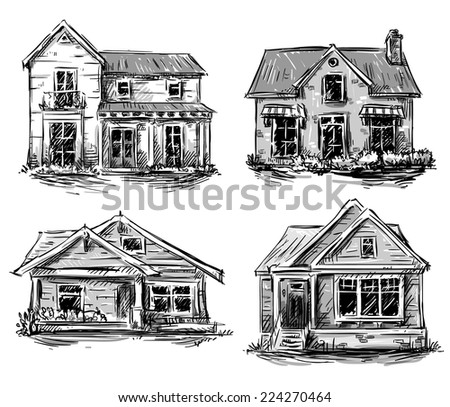 Set of private houses, hand drawn, vector illustration - stock vector