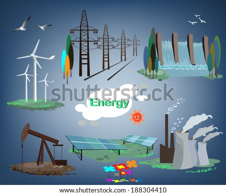 set of production energy for the world - stock vector