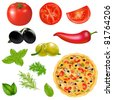 Set Of Products With Pizza, Isolated On White Background, Vector Illustration - stock vector