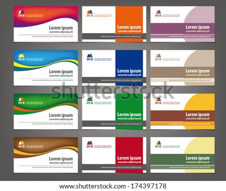 Set of 12 professional and designer horizontal business cards or visiting cards - stock vector
