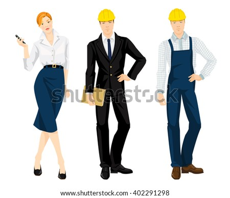 Set of professional isolated on white background. People in uniform. Builder manager or engineer, worker in protective wear and helmet, secretary with phone in her hand. - stock vector