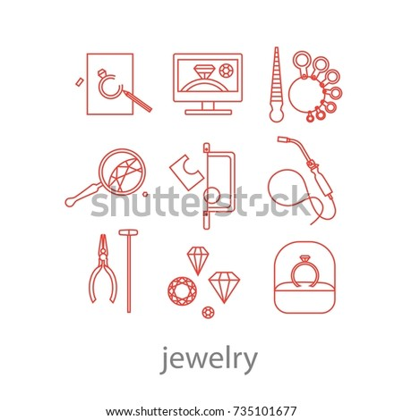 Set of professional jeweler tools and working stages jeweler