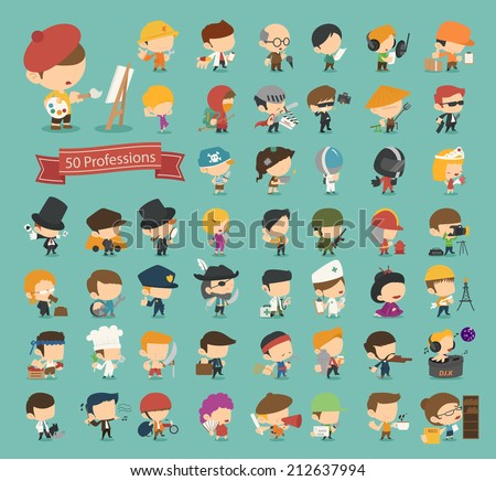 Set of 50 professions , eps10 vector format - stock vector