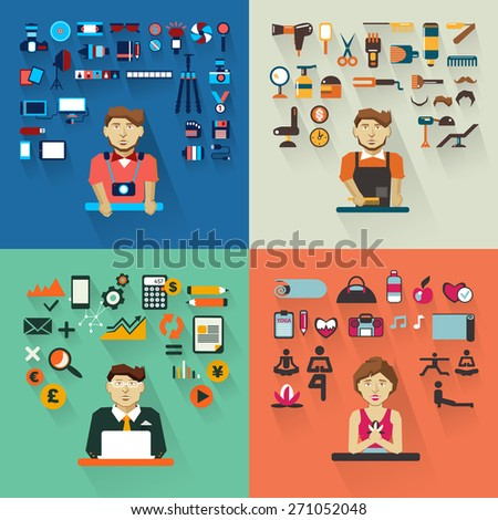 Set of professions. Photographer, barber, accountant, yoga instructor. - stock vector