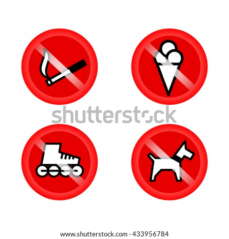 set of prohibition signs at the entrance to the store or shop. Not allowed icons: no dogs, no ice cream, no smoking, no skates. Vector icons - stock vector