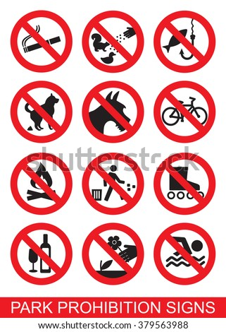 Set of prohibition signs suitable for parks, recreational areas, etc.